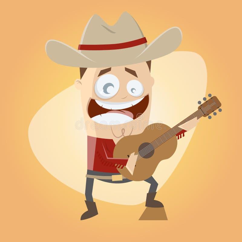 Cantante de country divertido de la historieta ilustración del vector