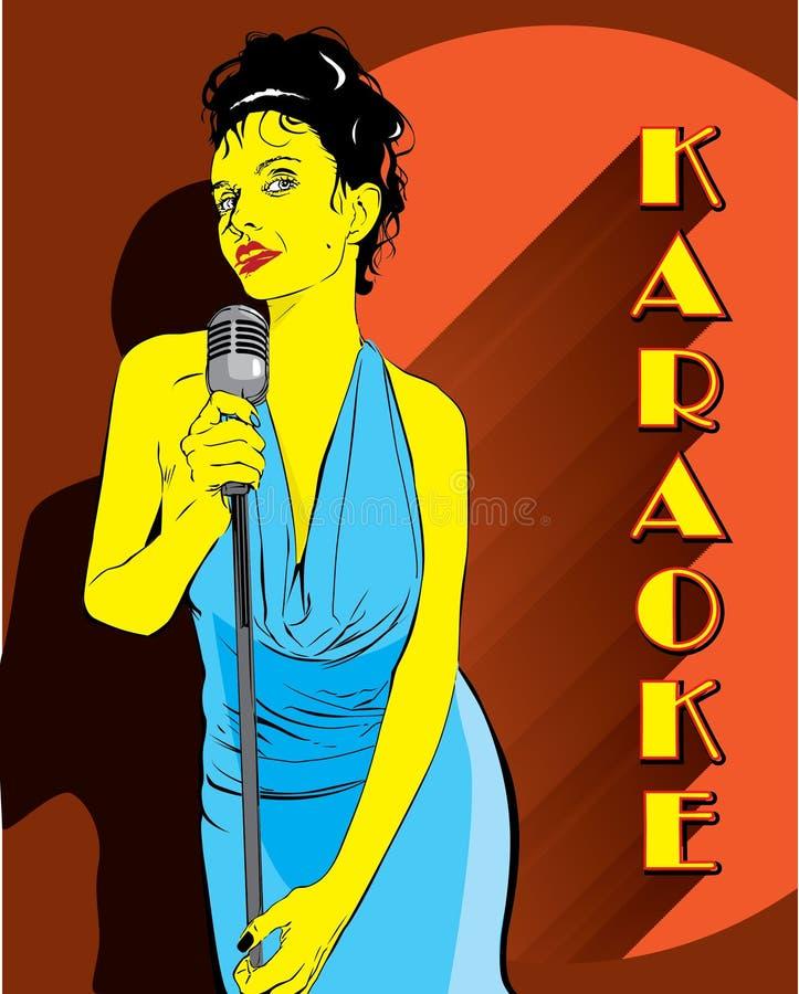 Cantante de la señora en la barra del kakaoke stock de ilustración