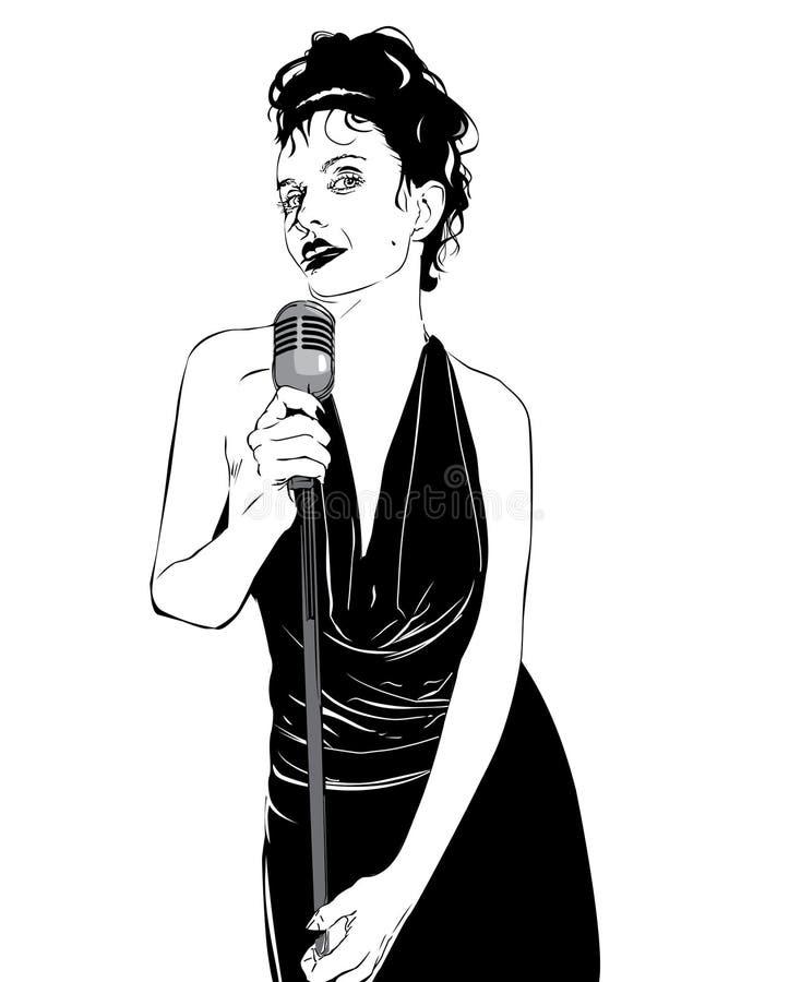 Cantante de la señora en la barra del kakaoke libre illustration