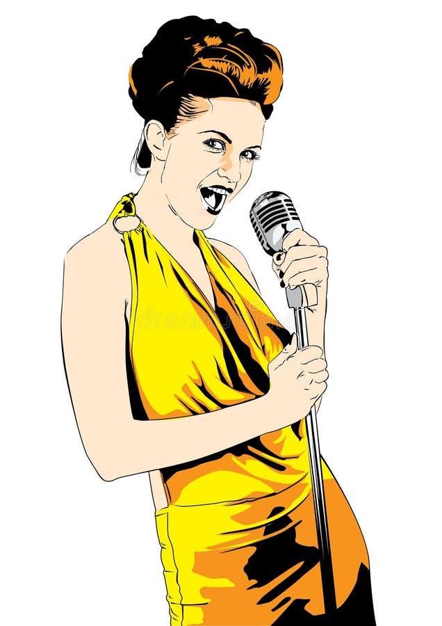 Cantante de la señora; vector stock de ilustración