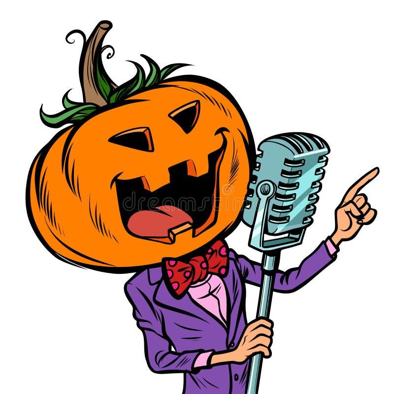 Cantante del carattere della zucca di Halloween Isolato su fondo bianco illustrazione vettoriale