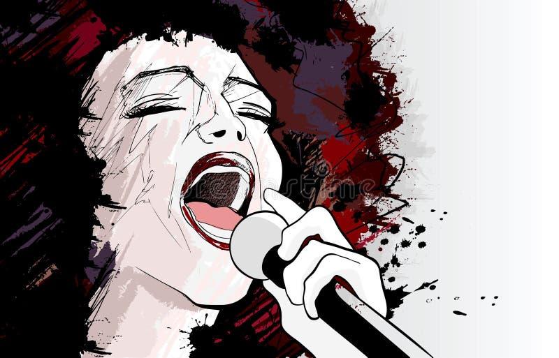 Cantante del jazz en fondo del grunge ilustración del vector