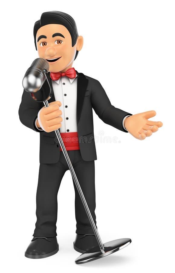 cantante del smoking 3D con el micrófono crooner ilustración del vector