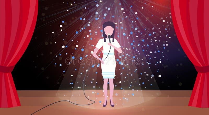 Cantante della donna con il microfono che esegue sulla femmina orizzontale di scintillio della fase di scena di concerto delle te royalty illustrazione gratis