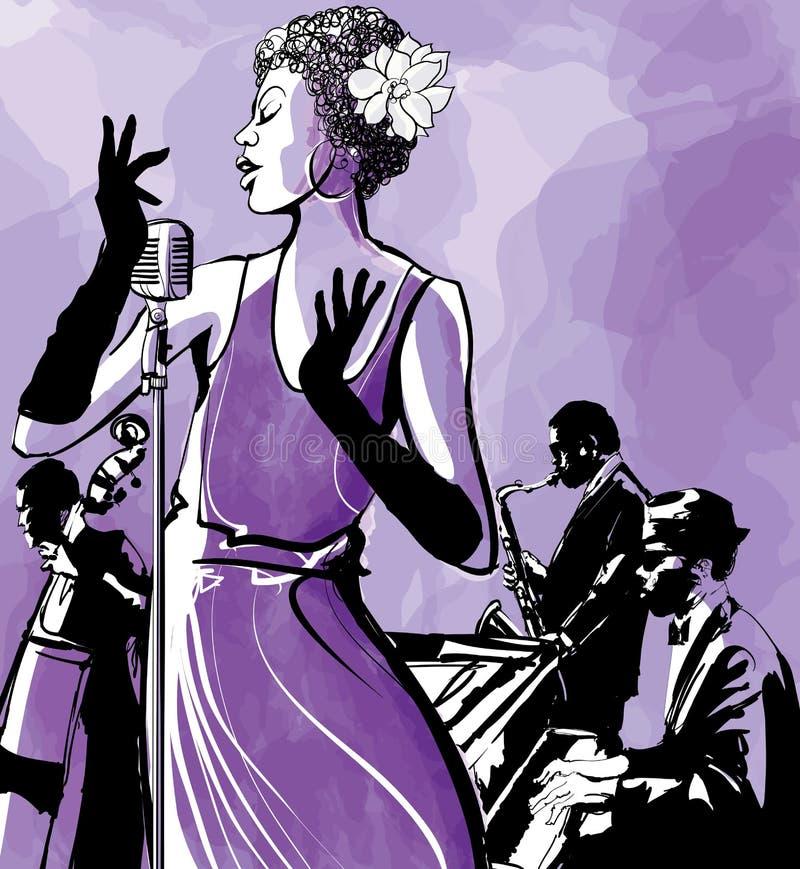 Cantante di jazz con il sassofono, il contrabbasso ed il piano royalty illustrazione gratis
