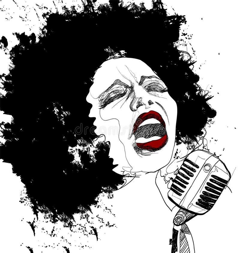 Cantante di jazz su priorità bassa bianca royalty illustrazione gratis