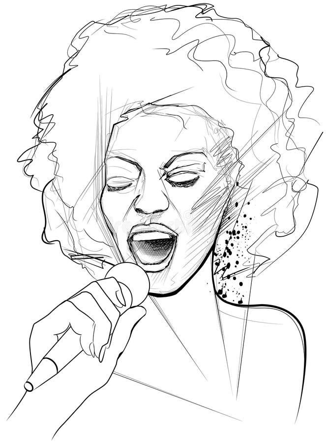 Cantante di jazz sulla priorità bassa del grunge illustrazione vettoriale