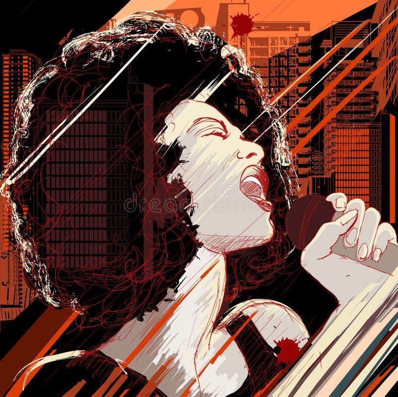 Cantante di jazz sulla priorità bassa del grunge illustrazione di stock