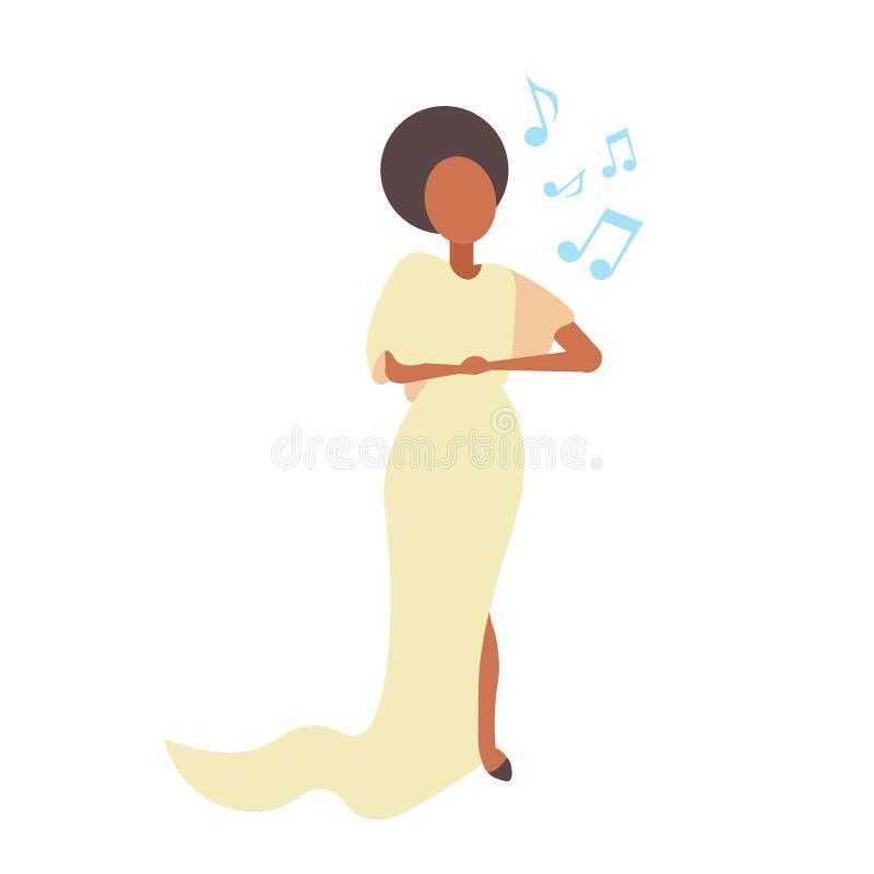 Cantante di opera della donna elegante nelle canzoni gialle concerto di karaoke di canto del vestito e nel concetto di musica per illustrazione di stock