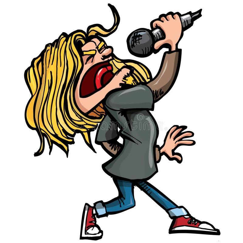 Cantante di roccia del fumetto con il microfono royalty illustrazione gratis