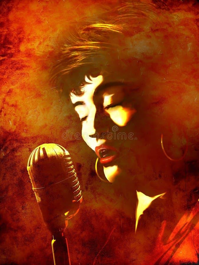 Cantante e microfono della donna di anima immagini stock libere da diritti