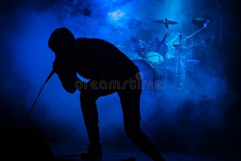 Cantante en el concierto foto de archivo