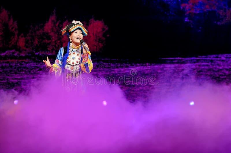 Cantante folk etnico tibetano cinese fotografie stock libere da diritti