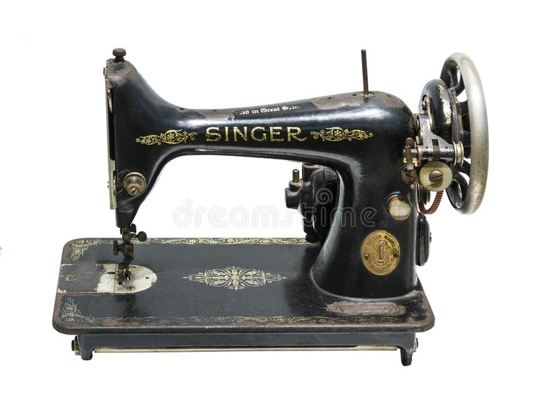 Cantante manual antiguo de la compañía de la máquina de coser en el fondo blanco fotos de archivo libres de regalías