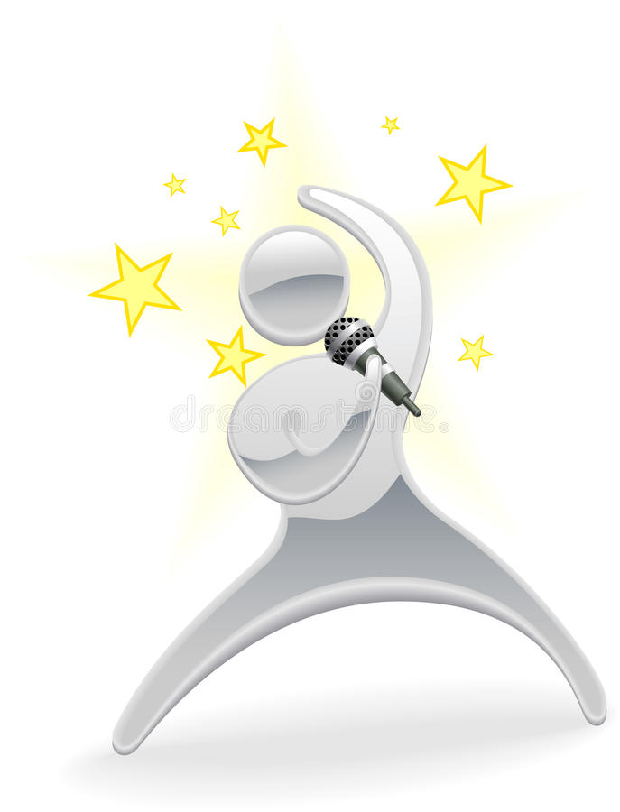 Cantante metálico del estrella del pop del personaje de dibujos animados libre illustration