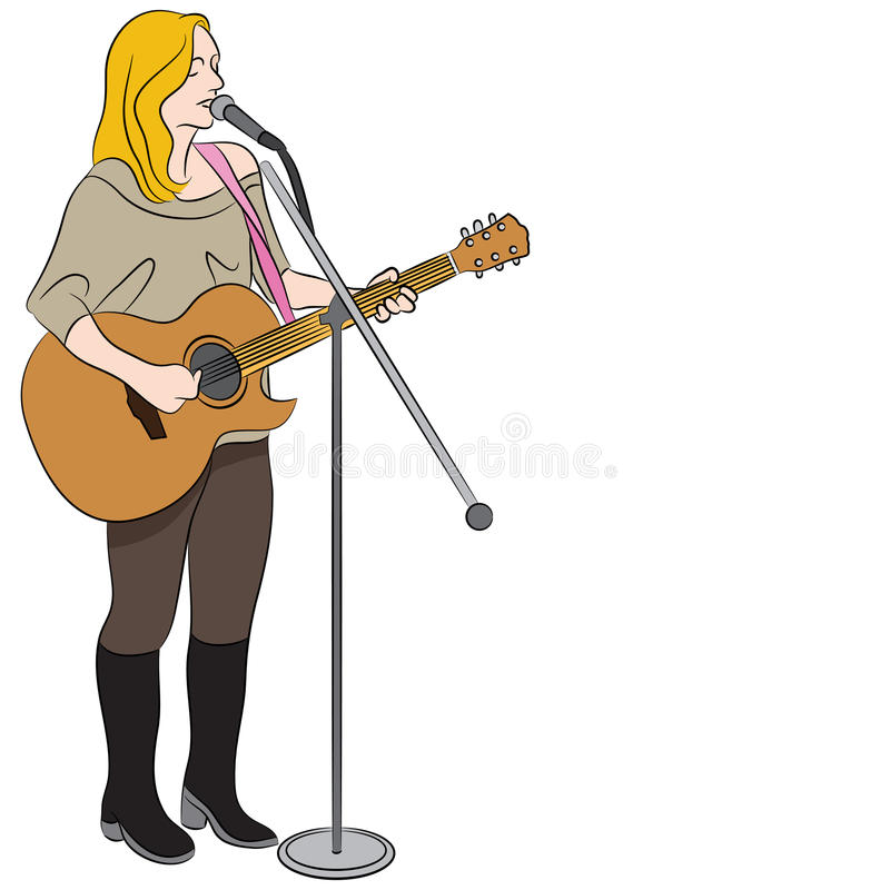 Cantante occidental del país femenino ilustración del vector