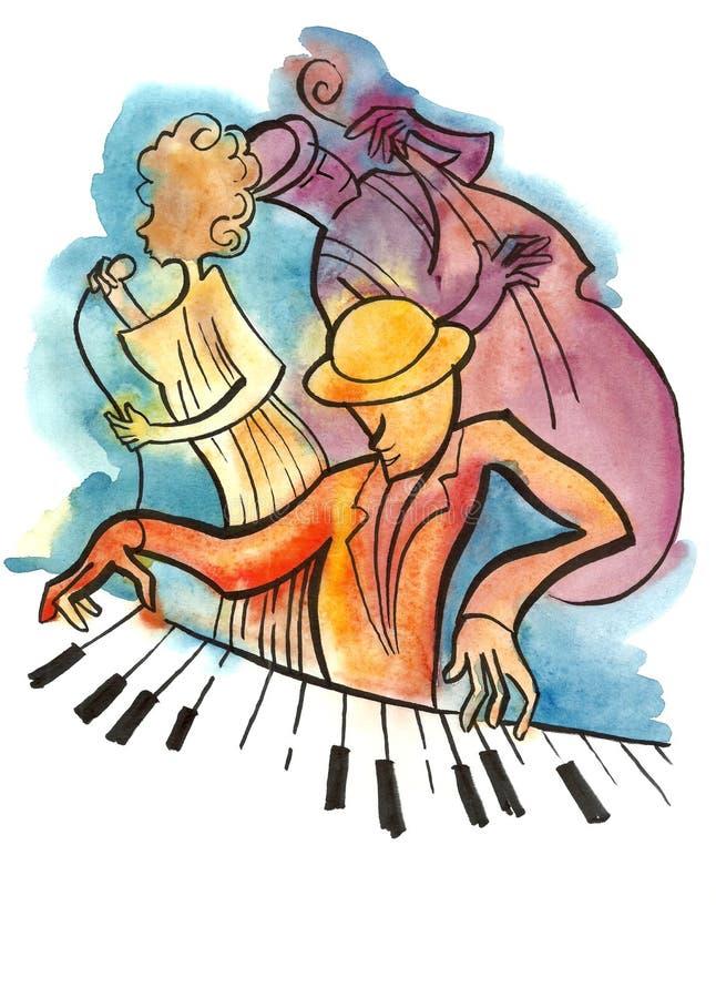 Cantante, pianista y bajista del jazz fotos de archivo