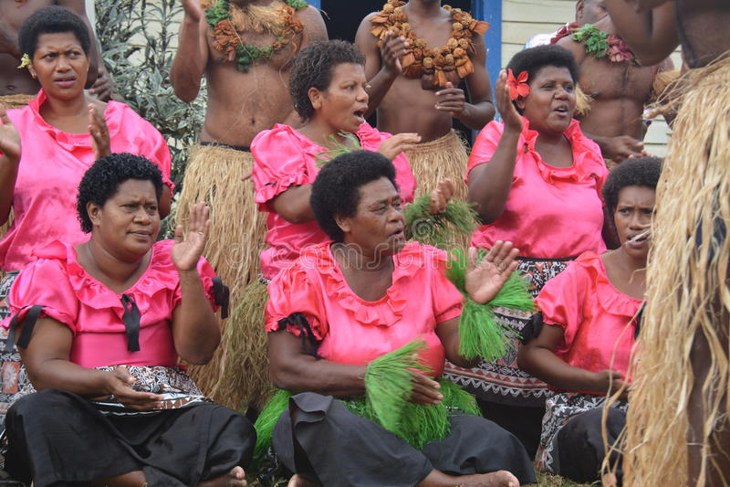 Cantantes del Fijian en una demostración cultural fotos de archivo libres de regalías
