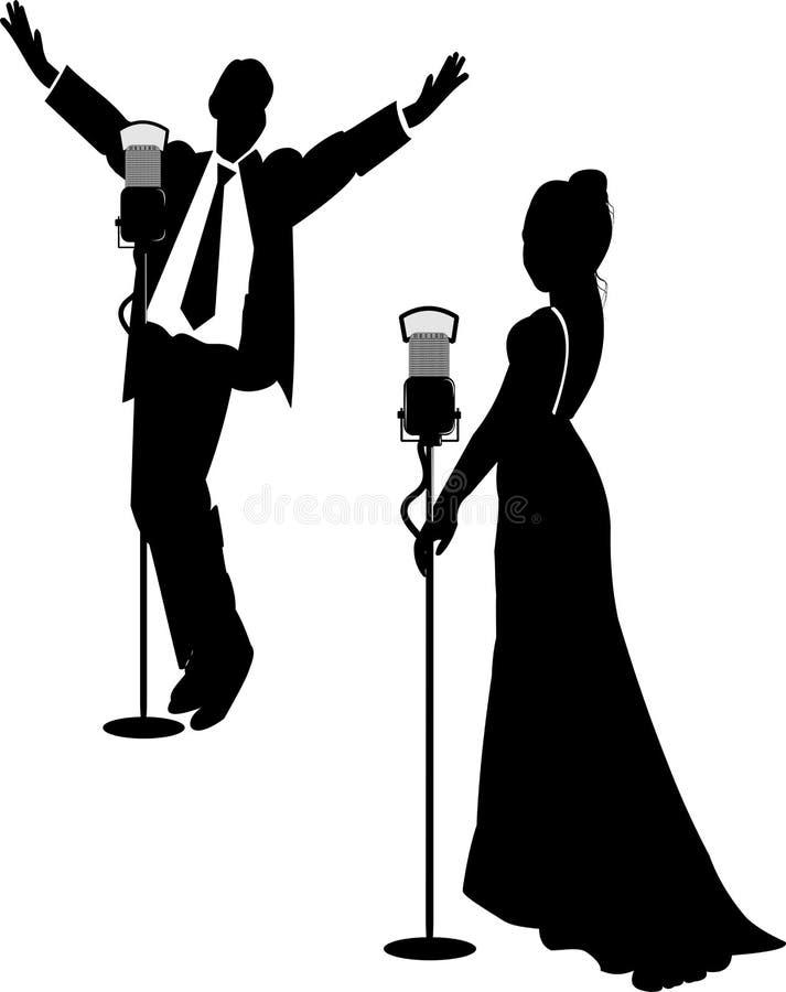 Cantantes del salón en silueta libre illustration
