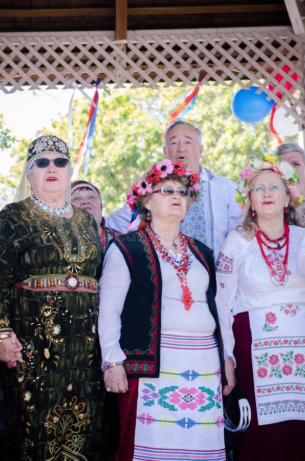 Cantantes en el día Auckland de Rusia fotos de archivo