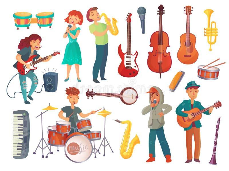 Cantantes jovenes de la historieta con los micrófonos y los caracteres w del músico libre illustration
