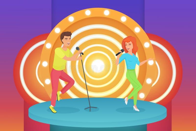 Cantanti delle coppie, dell'uomo e della donna che cantano le canzoni di karaoke che stanno sull'illustrazione moderna di vettore illustrazione di stock