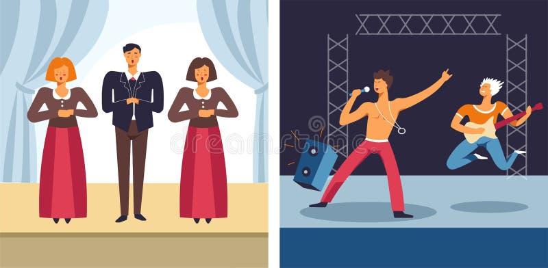 Cantanti e musicisti di prestazione musicale di concerto di musica rock e di opera illustrazione vettoriale