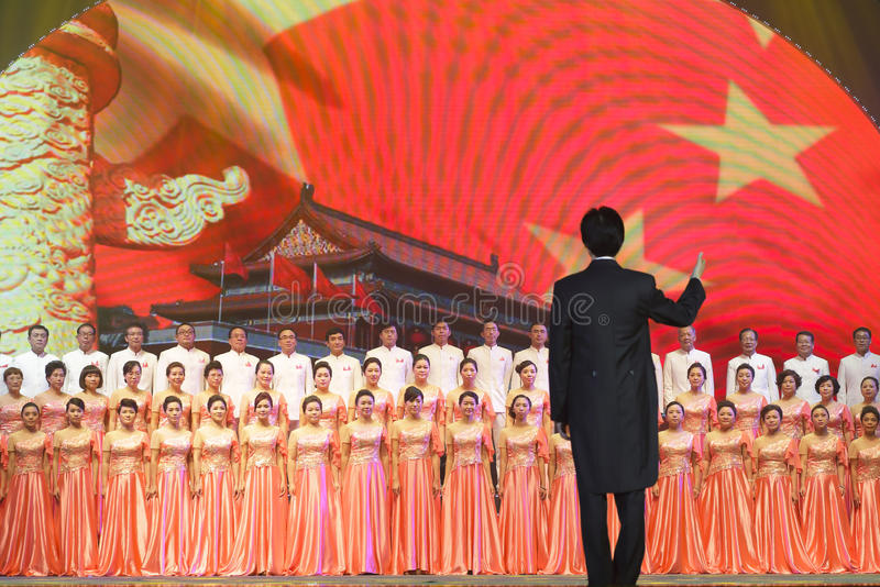 Cantata: bandera roja de la estrella de Tiananmen fotos de archivo libres de regalías