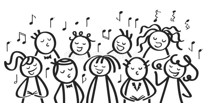 Cante a coro, los hombres divertidos y las mujeres que cantan, las figuras blancos y negros del palillo cantan una canción stock de ilustración