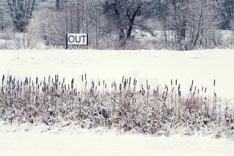 Cante para fora na paisagem nevado, olá! mola, adeus conceito do inverno fotos de stock royalty free