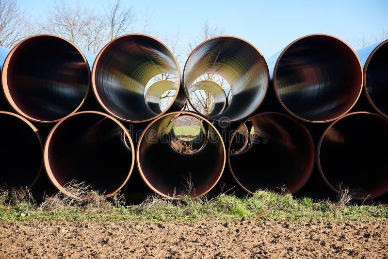Canteiro de obras do gasoduto natural europeu EUGAL perto de Wrangelsburg (Alemanha) em 16 02 2019, este encanamento começa dentr fotografia de stock