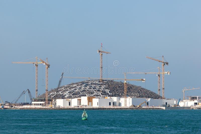 Canteiro de obras do museu de Abu Dhabi do Louvre foto de stock
