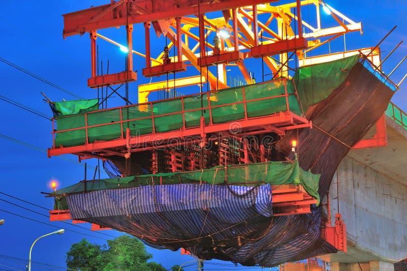 Canteiro de obras do trem de céu em Banguecoque, Tailândia imagem de stock