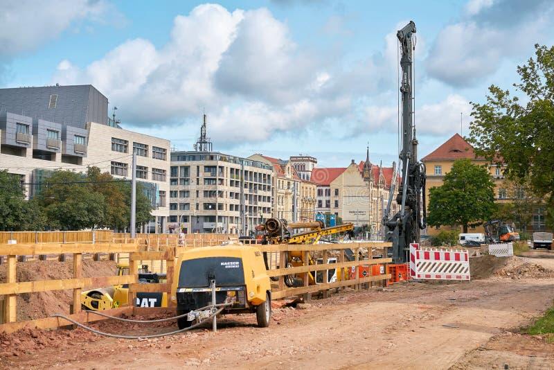 Canteiro de obras em Magdeburgo do centro fotos de stock royalty free