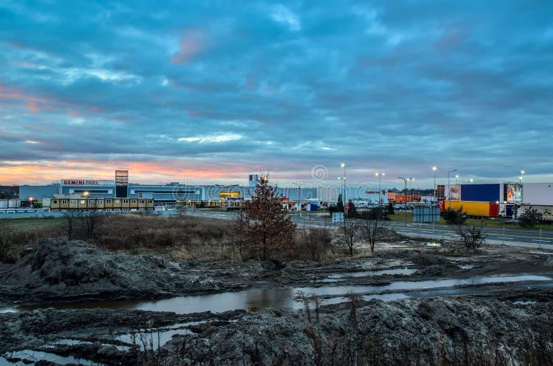Canteiro de obras em Tychy, Polônia fotografia de stock