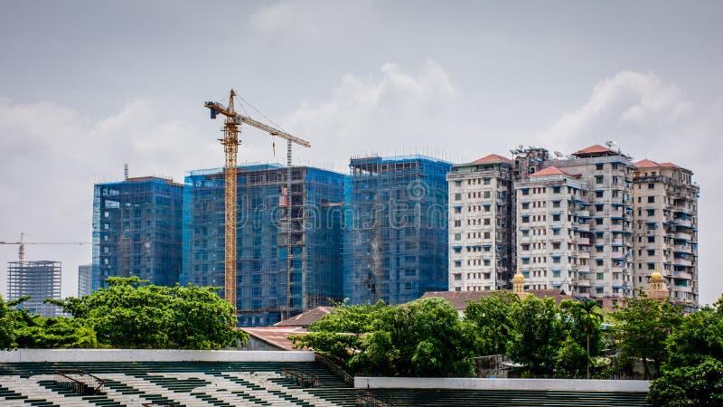 Canteiro de obras em Yangon, Myanmar imagem de stock royalty free