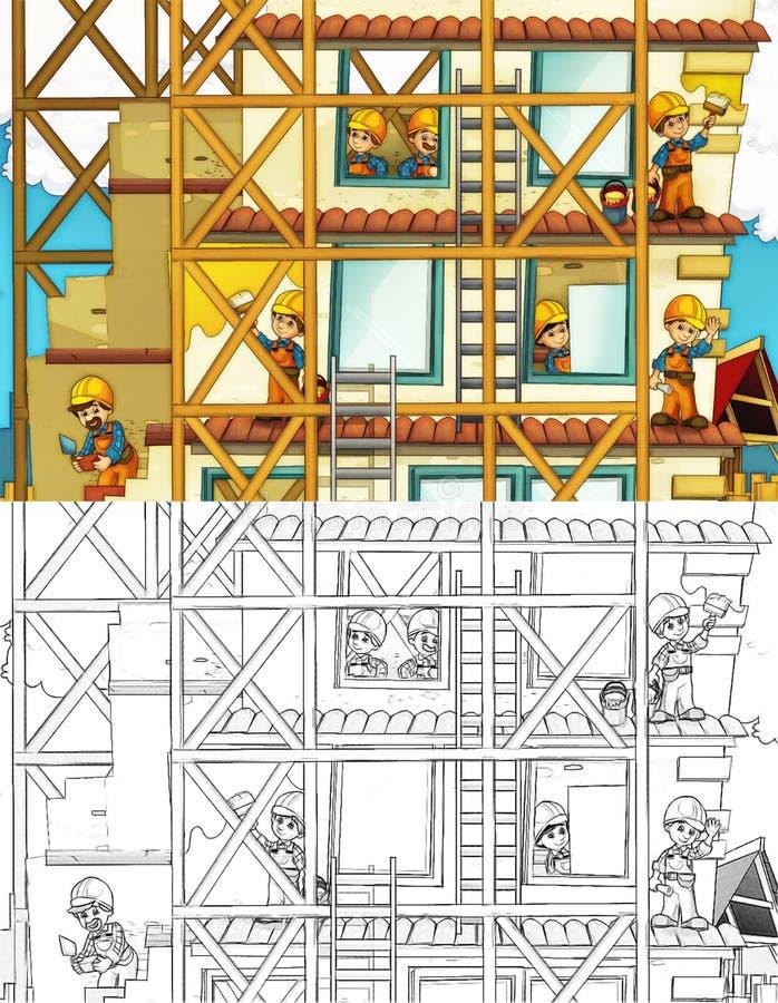 Canteiro de obras - página da coloração com estreia ilustração royalty free