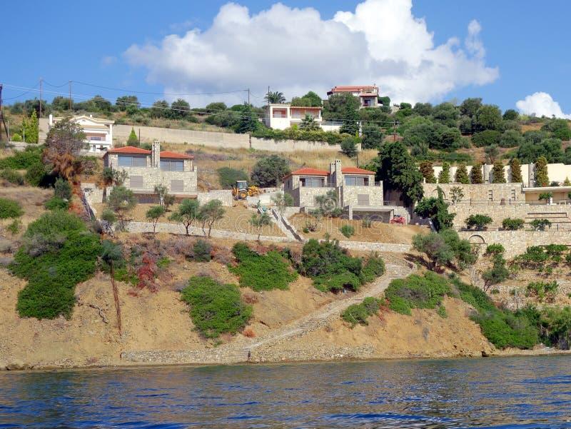 Canteiro de obras residenciais da margem, Grécia imagens de stock