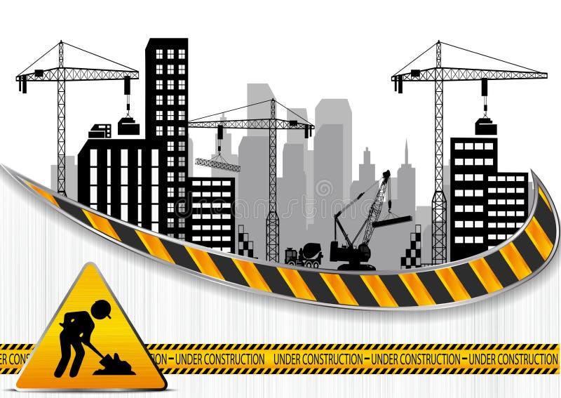 Canteiros de obras com construções e guindastes ilustração do vetor