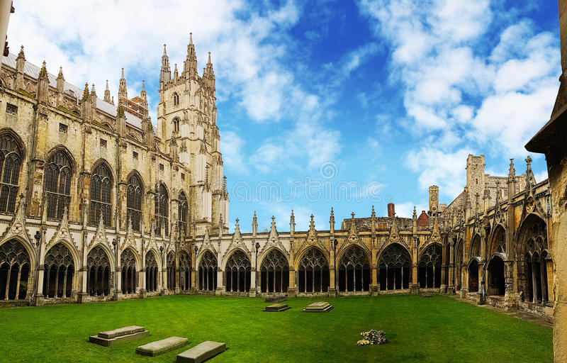 Canterbury Cathedral Cloister, Kent, United Kingdom. Believed to be one of the potential location for Harry Potter Shootings stock photo