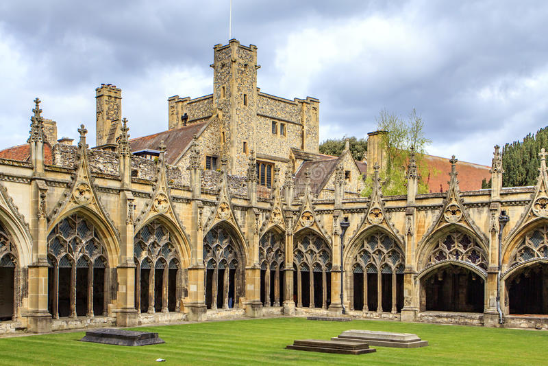 Canterbury Cathedral Cloister, Kent, United Kingdom stock photo