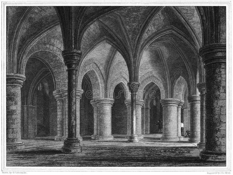 Canterbury Cathedral, Crypt under Trinity Chapel royalty free stock photography