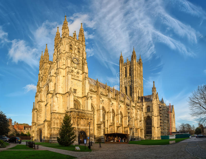 Canterbury cathedral in sunset rays, England stock images