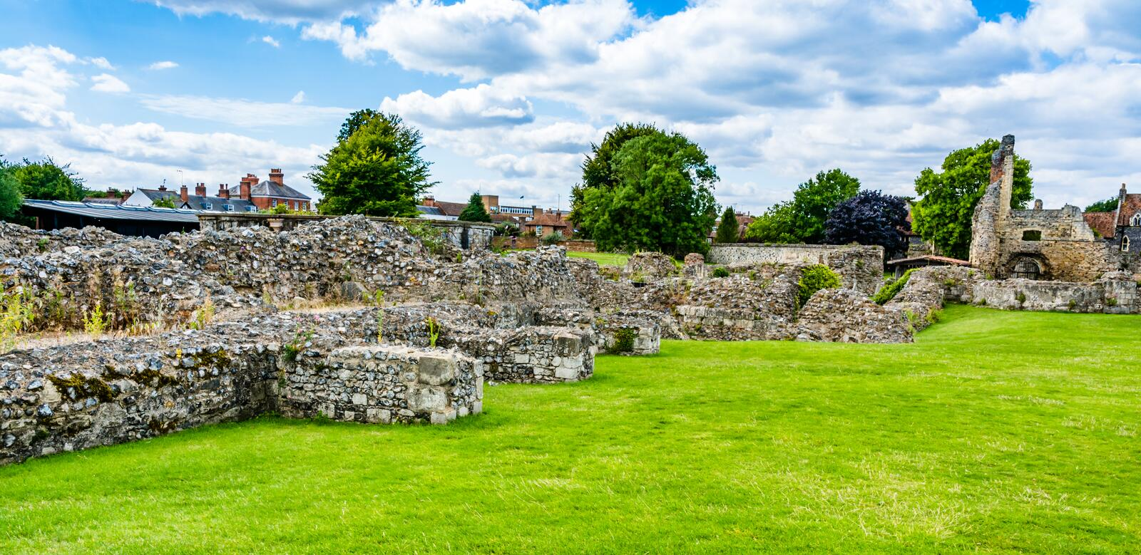 Ruins of St Augustine's Abbey in Canterbury, Kent, UK royalty free stock image