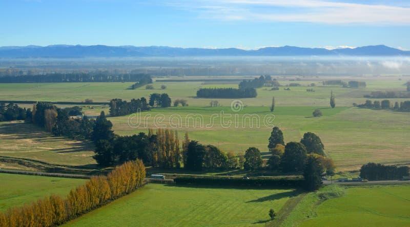 Canterbury Plains Antenne auf Herbstmorgen, Neuseeland lizenzfreies stockbild