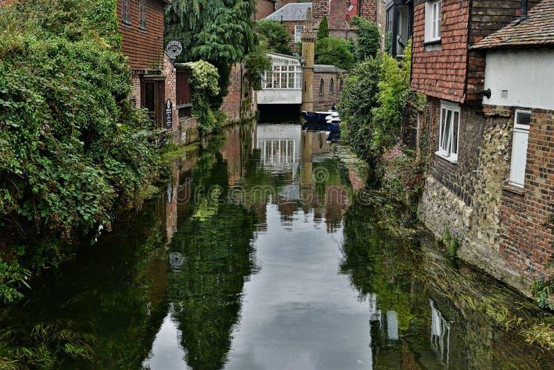 Canterbury sailing canal, beetwen buildings. royalty free stock images