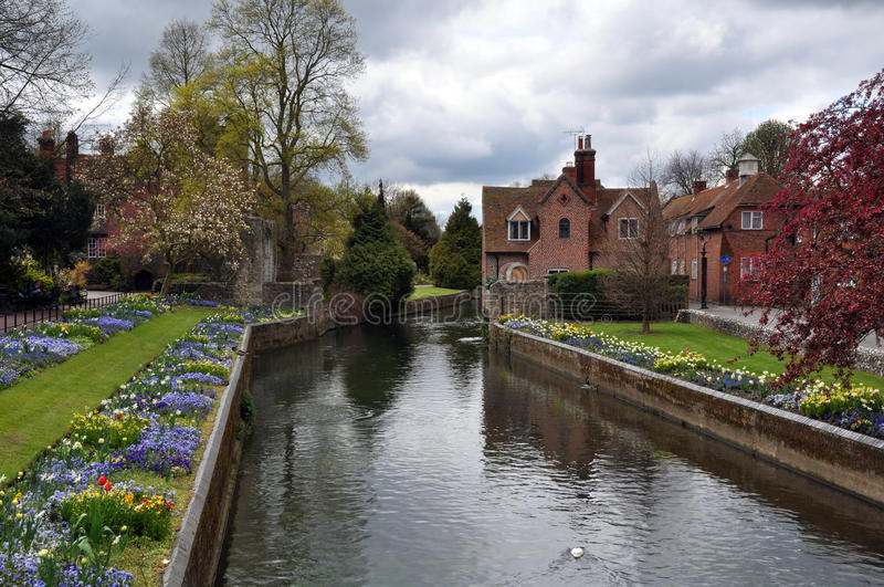 Canterbury, United Kingdom - River & Gardens. The beautiful river and gardens in the historic town of Canterbury, England, United Kingdom royalty free stock image