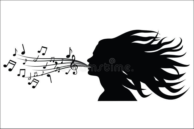 Canti la siluetta della donna illustrazione di stock