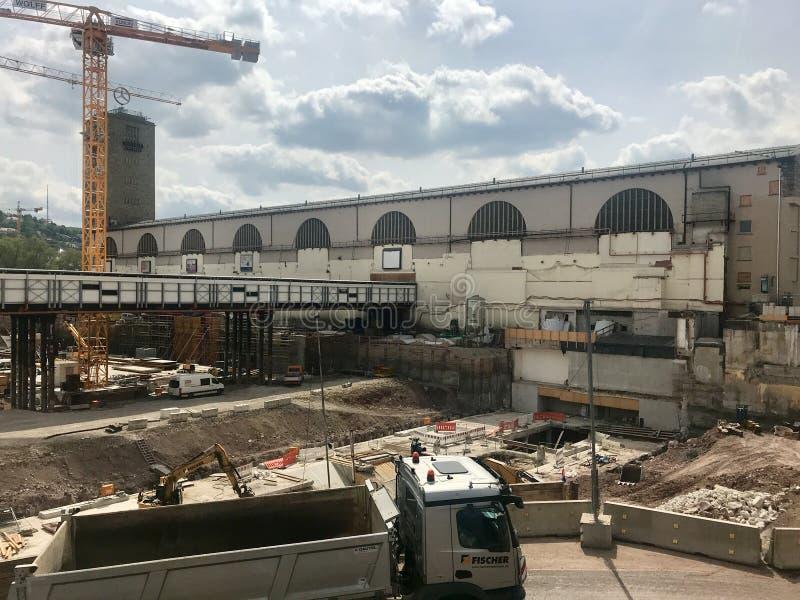 Cantiere alla stazione principale di Stuttgart per il progetto della ferrovia Stuttgart21 fotografia stock