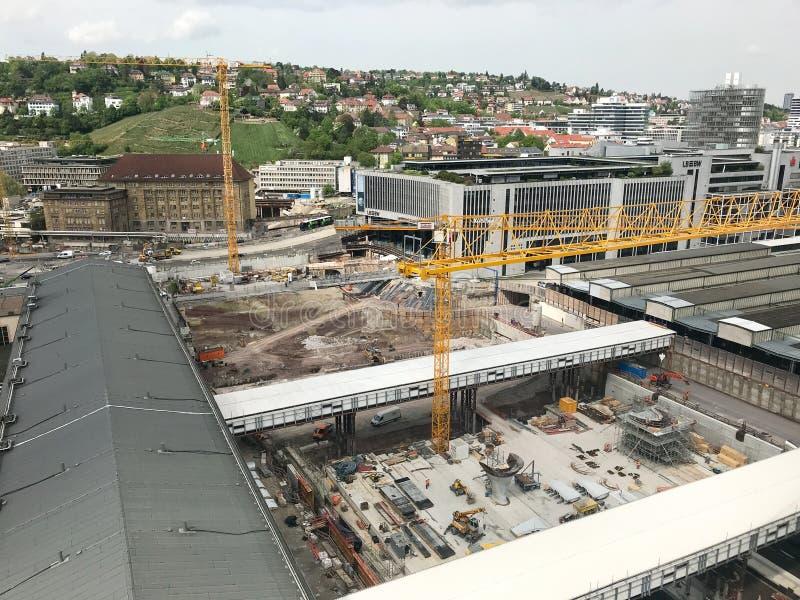 Cantiere alla stazione principale di Stuttgart per il progetto della ferrovia Stuttgart21 immagini stock